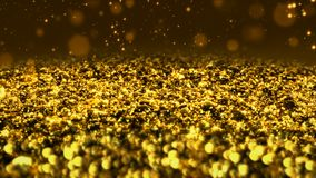 Golden shiny glitter seamless loop abstract texture close up macro background