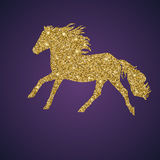 Golden, shiny and glittering galloping horse Royalty Free Stock Photo