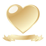 Golden shiny heart. A golden shiny heart and scroll against white background Royalty Free Stock Images