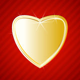 Golden shiny heart on red background Stock Images