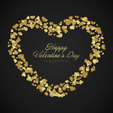 Golden shiny hearts confetti Valentine's day Stock Photos