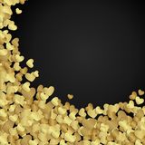 Golden shiny hearts confetti Valentine's day Royalty Free Stock Photo
