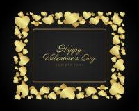 Golden shiny hearts confetti Valentine's day Stock Photography