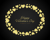 Golden shiny hearts confetti Valentine's day or Stock Photography