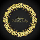 Golden shiny hearts confetti Valentine's day or Stock Photo