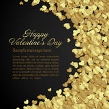 Golden shiny hearts confetti Valentine's day or Stock Images