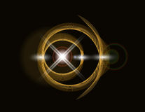 Golden shiny loop on a dark background. Bright Star. abstraction. illustration Royalty Free Stock Photos
