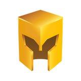 Golden Shiny Medieval Knight Helmet Stock Photo