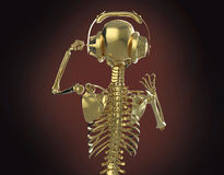 Golden shiny metal skeleton in big earphones posing, isolated on dark background. rendering party poster template Stock Photography