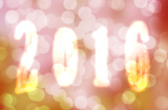 Golden shiny 2016 New Year greeting card Stock Photography