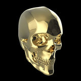Golden shiny polished metal skull render isolated on black background. Golden shiny polished metal skull 3d render isolated on black background Royalty Free Stock Photo