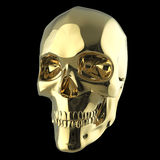 Golden shiny polished metal skull render isolated on black background. Golden shiny polished metal skull 3d render isolated on black background Royalty Free Stock Images