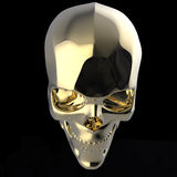 Golden shiny polished metal skull render isolated on black background. Golden shiny polished metal skull 3d render isolated on black background Stock Photos