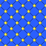 Golden shiny star blue upholstery pattern Royalty Free Stock Image