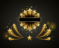 Golden shiny stars that fly and leave trace. Golden bright shiny stars that fly and leave long trace isolated cartoon vector illustrations set on black Stock Image