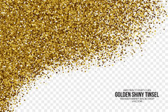 Golden Shiny Tinsel Square Particles Vector Background Stock Photography