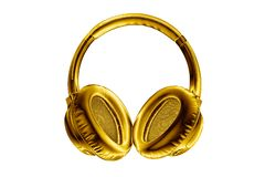 Free Golden Shiny Wireless Headphones On White Background Isolated Close Up, Luxury Gold Metal Bluetooth Headset, Yellow Earphones Stock Image - 166923171