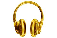 Free Golden Shiny Wireless Headphones On White Background Isolated Closeup, Expensive Gold Metal Bluetooth Headset, Yellow Earphones Royalty Free Stock Photo - 166923155