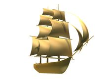 Golden ship Royalty Free Stock Photos