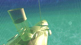 Golden Ship glowing under the sea between grids. In a digital environment stock video