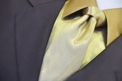 Golden Shirt - golden necktie - suit Stock Images