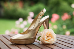 Golden Shoe Royalty Free Stock Photography