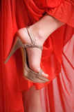 Golden shoe, red dress Stock Photography