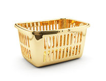 Golden shopping basket Stock Images