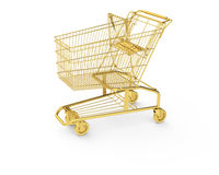Golden shopping cart Stock Photography