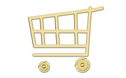 golden shopping cart Stock Photos