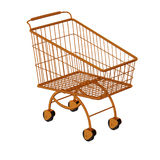 Golden shopping cart. Royalty Free Stock Photo