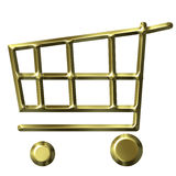 Golden Shopping Cart Stock Images