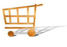 Golden shopping cart icon concept isolated Stock Photos