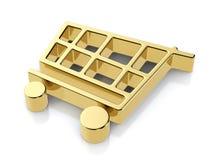 Golden shopping cart symbol Stock Photos