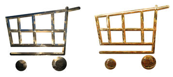 Golden shopping carts or baskets Royalty Free Stock Image