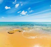 Golden shore in Costa Rei Royalty Free Stock Photos