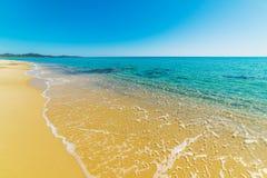 Golden shore in Costa Rei Stock Photos