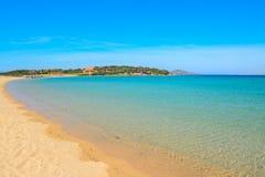 Golden shore in Porto Pollo beach Royalty Free Stock Images