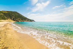 Golden shore in Solanas Stock Image