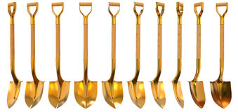 Golden shovel set foreshortening 3d illustration Stock Photos