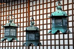 Golden shrine lanterns Royalty Free Stock Images