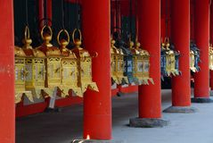 Golden shrine lanterns Royalty Free Stock Photo