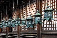 Golden shrine lanterns Royalty Free Stock Photography