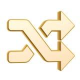 Golden shuffle symbol. Isolated on white background Stock Photos