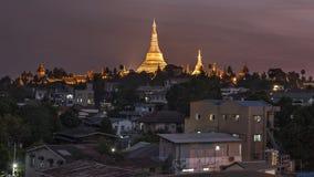 Golden Shwedagon pagoda downtown view at sunset, Yangon, Myanmar