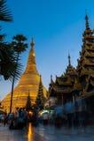 Golden Shwedagon Pagoda by night in Yangon Myanmar Royalty Free Stock Photo