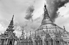 Golden Shwedagon temple, black and white Stock Photography