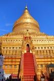 Golden Shwezigon Pagoda in Bagan Myanmar Stock Photography