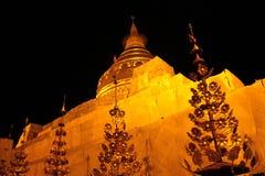 Golden Shwezigon Pagoda at night, Bagan, Myanmar Burma. stock photography