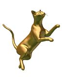 Golden Siamese Cat statue leaping Royalty Free Stock Photography